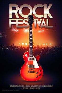 Today I will show you how to create a rock festival poster in Photoshop. We'll learn to use a custom brush for the background, use photo stock, simple manipulation techniques and combine colors to give a cool look
