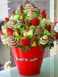 sweet strawberry and chocolate flowers