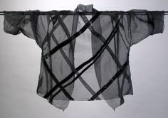 Silk Organza Appliquéd Shawl Collar jacket.  Black / Black Silk Ribbons Diane Katz Designs