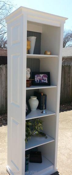 Bi-fold door upcycled bookshelf DIY Tutorial