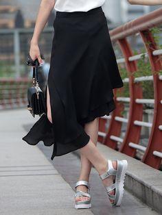 #AdoreWe #StyleWe Midi Skirts - SHANGMAN Statement Plain Asymmetrical Polyester Midi Skirt - AdoreWe.com