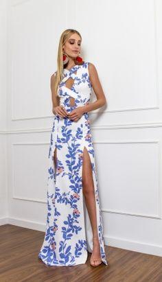 VESTIDO LONGO DECOTE CRUZADO - VE20978-B4   Skazi, Moda feminina, roupa casual, vestidos, saias, mulher moderna
