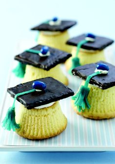 Graduation Cap Cupcakes — Cue your favorite version of Pomp and Circumstance. Orange-flavored cupcakes topped with a chocolate graham mortarboard earn you a degree in cuteness.