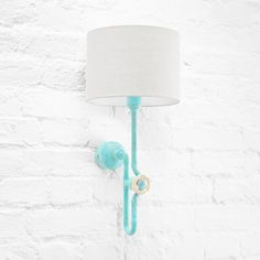 Unusual, dimmable wall light - an urban loft sconce with creative knob dimmer. Here shown in cozy combination of turquoise patina metal finish, light grey linen shade and vintage ivory knob. Brass Sconce, Sconces, Loft Wall, Patina Metal, Urban Loft, Bedside Lamp, Metal Finishes, Colorful Interiors, Contemporary