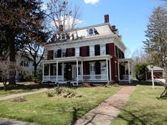 1836 – West Brookfield, MA – $373,900 | Old House Dreams Historic Homes For Sale, Porch Roof, Slate Roof, Old House Dreams, New England, Castles, Colonial, Beautiful Homes, Lilac