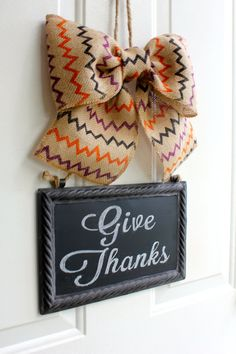 Multi Colored Fall Chevron Burlap Bow.... Wreath Alternative .... CHALKBOARD Metal Sign Hanging Chevron Burlap Bow Blackboard - Write your own message - Interchangeable Bows - www.Chalkitupdecor.com #Burlapbows #chalkboards #frontdoordecor