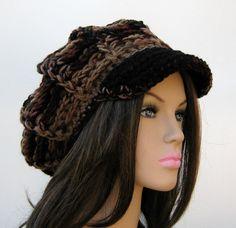 Multi brown Visor Tam Hat Hippie Newsboy by PurpleSageDesignz, $ 25.00