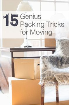 15 Genius Packing Tricks for Moving   |   It takes a lot of time and energy to go through all your things and parcel them up in readiness for a safe journey to your new home.   Follow these tips and invest in some useful products to take the pain out of packing.