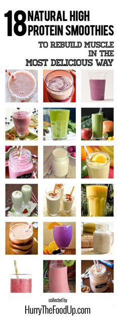 18 Natural High Protein Smoothies #smoothie #protein | hurrythefoodup.com - some dairy-free options