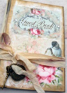 Wedding Guest Book in Shabby Chic Vintage by shabbyweddingbooks, $125.00