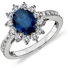 Blue Nile Oval Sapphire and Diamond Ring in 18k White Gold (8x6mm) ($3,400) ❤ liked on Polyvore