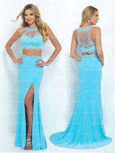 2015 popular pretty long chiffon blue prom dresses, formal sexy 2 piece prom dresses   Cheap prom dresses Sale