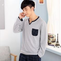 2017 Limited 100% Cotton Spring Autumn Male Sleepwear Mens Pajamas Long-sleeve O-neck Pullover Lounge Sleep Set Men Pajama Sets