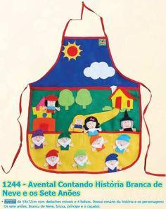 avental contando história, diversos modelos, infantil, c/nf