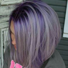 25 Beautiful Lavender Hair Color Ideas Lavender Hair with Dark Purple Roots Lavender Hair Colors, Lilac Hair, Hair Color Purple, Cool Hair Color, Dark Purple, Gray Hair, Grey Hair With Purple, Lavender Hair Highlights, Purple Underneath Hair