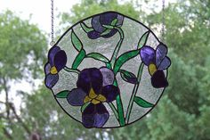 Stained Glass Violets Round Panel, Unique Home Decor, Mother's Day Gift