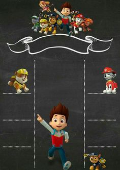 Paw Patrol Birthday  Chalkboard Invitation Paw Patrol And