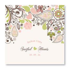 Kad kahwin Floral 33 Kad kahwin Floral cantik | Kad kahwin Bunga | kad kahwin watercolor | kad kahwin cantik | Kad kahwin murah | Kad kahwin Pink | kad kahwin 6x6