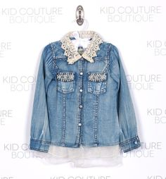 Denim Shirt with Lace Collar & Beaded Pockets! www.kidcoutureboutique.com