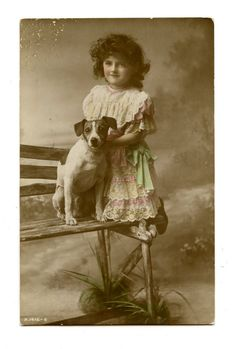 1917 Jack Russell Terrier Dog & Little Girl by AuntieGVintage