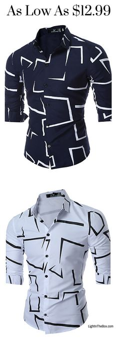 Casual geometric print weekend slim cotton men shirt in navy blue and white colours at just $12.99. Click to shop.
