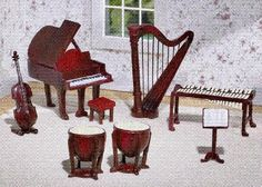 Miniature Musical Instruments Figurines
