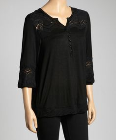 Look at this Black Embellished Notch-Neck Top on #zulily today!