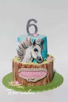 Cake with hand painted horse - http://cakesdecor.com/cakes/283085-cake-with-hand-painted-horse