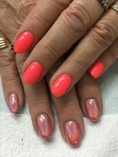 Rose Gold Coral Holo Chrome Unicorn gel nails