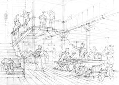 A tavern- stage 1, sketch by amilanowska.deviantart.com on @DeviantArt