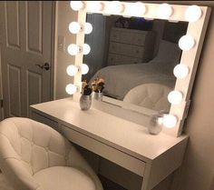 DESCRIPTION Large makeup mirror with lights for every makeup lover. Have a wonderful professional makeup experience! SIZE Entire mirror: 30 tall, 36 wide, 2.25 deep. Mirror size: 24x30 DIMMER AND ELECTRICAL OUTLETS ARE INCLUDED!! COLOR Black and white are standard colors. For a