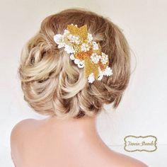 Gold Beaded Wedding Headpiece by FancieStrands @EtsyWeddingTeam @EtsyWeddingTeam