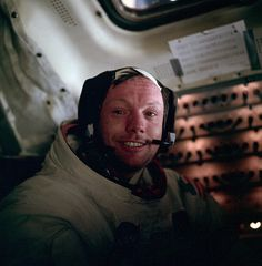Neil Armstrong sits in the Apollo 11 lunar module after his historic moonwalk on July 20, 1969. (Source: NASA)
