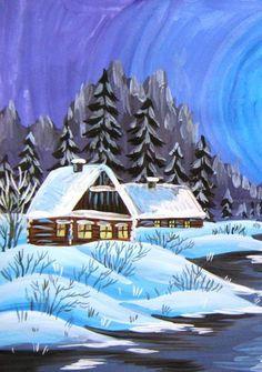 Зимний пейзаж гуашью поэтапное рисование