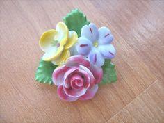 Porcelain flower brooch signed Japan vintage