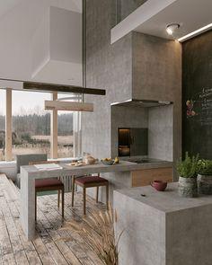 Cool Concrete Kitchen Design Inspiration Pictures - Home Decor İdeas Home Decor Kitchen, Interior Design Kitchen, Modern Interior Design, Interior Design Inspiration, Interior Architecture, Kitchen Ideas, Amazing Architecture, Room Interior, Minimal Kitchen Design