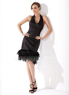 Sheath/Column Halter Knee-Length Ruffle Feather Zipper Up Regular Straps Sleeveless No Black Spring Summer Fall General Plus Sequined Cocktail Dress