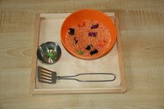 Spider Sifting (for Halloween)---sift through colored rice to find the spiders!