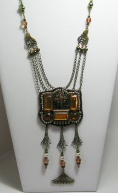 Beadwork Necklace Vintage Style Antique by StoneDesignsbySheila, $119.00