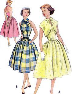 1950s Dress Pattern McCalls 9193 Full Skirt Halter por paneenjerez