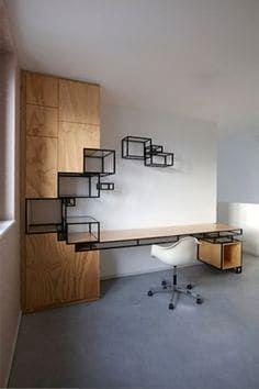 38 Trendy Home Office Modern Desk Inspiration Office Storage Furniture, Office Furniture Design, Office Interior Design, Office Interiors, Furniture Makeover, Cool Furniture, Modern Furniture, Modern Desk, Furniture Ideas