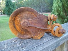 Vintage Iron Barn Pulley...Industrial...Salvaged...Rusty...Primitive...Rustic... on Etsy, $30.00