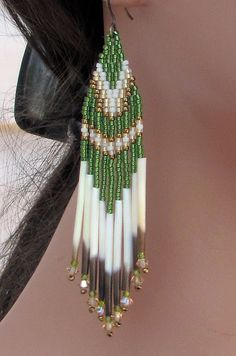 Jade Green Quill Earrings  Porcupine Quill by CreationsbyWhiteWolf, $24.00