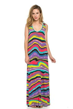Frumos Womens Tropical Sleeveless Racerback Maxi Dress,Made In USA ** Hurry! Check out this great product : homecoming dresses