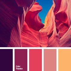 orange color palettes with color ideas for decoration your house, wedding, hair or even nails. Lila Palette, Purple Palette, Red Colour Palette, Colour Schemes, Color Combos, Sunset Color Palette, Purple Red Color, Coral Colour, Coral Orange