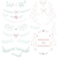 Hand drawn watercolor laurel, watercolor wreath, watercolor bow clipart for scrapbooking, wedding invitation, personal and commercial use