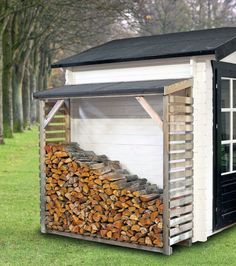 Awesome 51 Pretty Diy Outdoor Firewood Storage Design Ideas To Have Right Now Outdoor Firewood Rack, Firewood Shed, Firewood Storage, Shed Storage, Storage Rack, Shed Design, Storage Design, Wood Shed Plans, Gardens