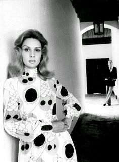 Carolina Herrera wearing Pucci in a hallway of Hacienda La Vega, Caracas.