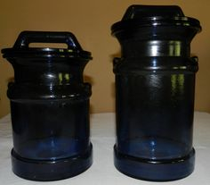 Large Cobalt Blue Glass Canisters by PeggysVintageVariety on Etsy