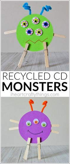 This recycled CD monster craft is perfect as a Halloween craft but it can also be made year round when coupled with a monster themed book.